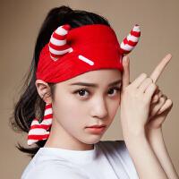 三利 洗脸束发带 网红敷面膜洗漱化妆用头箍 甜美可爱发套运动头饰