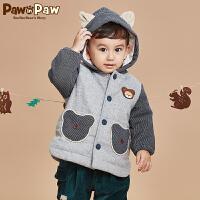 【3件2折 到手价:200】Pawinpaw宝英宝卡通小熊童装冬款男宝宝棉服婴幼儿拼接连帽外套