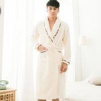 情侣珊瑚绒睡袍女冬加厚加长款法兰绒白色浴衣男士秋冬季睡衣浴袍
