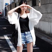 【满299减240】2019新款夏季韩版防晒衣女中长款开衫海边沙滩服百搭薄款外套潮