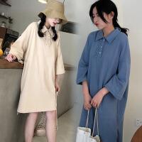 加肥加大码夏装韩版学院风中长连衣裙200斤原宿Polo领半袖上衣