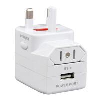 出国旅行转换插头国际转换插座单双USB插座电源转换器英标美标欧标通转换电源插座 单 USB-转换插