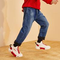 【2件4折:93.7】巴拉巴拉旗下巴帝巴帝儿童裤子2019冬男童中大童时尚休闲加绒牛仔长裤