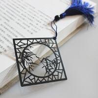 竹子梅花书签中国风不锈钢【听竹】古风剪纸风窗形金属书签古风