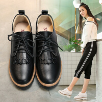 ZHR2018春季新款真皮休闲鞋坡跟女鞋英伦风松糕鞋女厚底系带单鞋AH06