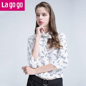 Lagogo2017夏新款韩范学院风系带立领七分袖上衣小清新印花女衬衫