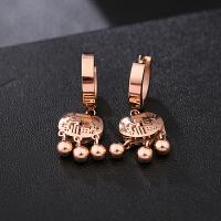 韩国玫瑰花圆圈吊坠钛钢耳环玫瑰金耳钉耳扣气质简约饰品女 银色 长命锁耳扣