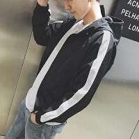 韩版撞色拼接潮流男士连帽夹克衫青年学生修身薄款运动防晒衣外套