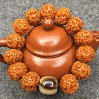 尼泊尔金刚菩提子手串机刷包浆姜黄皮金刚手串正宗尼泊尔五瓣金刚 20mm