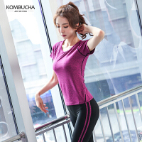 Kombucha瑜伽健身套装女士修身显瘦速干吸汗跳操健身跑步短袖长裤两件套KX8041T2