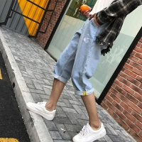 牛仔裤男士韩版潮流修身小脚七分中短裤子休闲裤青年夏季薄款
