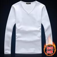 秋冬季男士加绒打底衫v领长袖t恤加厚保暖衣服男白色上衣秋衣体恤
