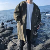 2018男士韩版欧巴中长款春装连帽夹克宽松青少年休闲潮流风衣外套
