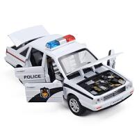 仿真六开门合金警车车模 儿童玩具声光回力轿车小汽车模型