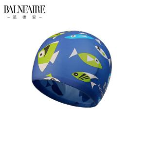 范德安儿童泳帽海底世界图案男女童防水硅胶泳帽防晒柔软环保彩色