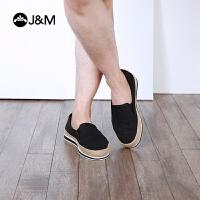 jm快乐玛丽春季新款平底透气镂空舒适网织平底男帆布鞋
