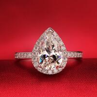 七度品尚2克拉钻戒 女戒指环情侣 S925银镀金戒指 女钻石婚戒 材质925银镀白金 8号-22号 现货即发