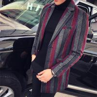 2018秋冬新款时尚男士韩版修身中长款毛呢风衣英伦条纹呢大衣外套