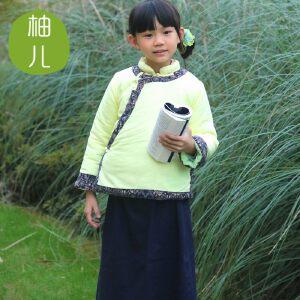 [清花]柚儿童装 棉麻复古儿童唐装女童棉衣大童棉袄新年装 复古中式棉袄 大清朝棉衣