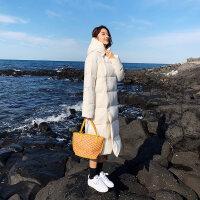 长款羽绒服女轻薄长过膝2018冬韩版潮时尚显瘦白鸭绒学生外套 白色