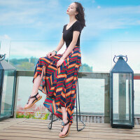 夏季新款女装两件套装裙子短袖雪纺长裙连衣裙波西米亚海边沙滩裙 图片色 XZA212