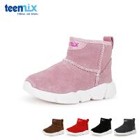 天美意teenmix童鞋18冬季新款婴幼童反绒牛皮靴子儿童雪地靴鞋宝宝户外鞋加绒保暖亲肤学步鞋(0-4岁可选) DX7