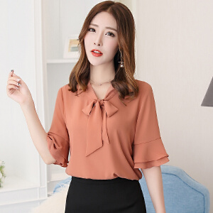 安妮纯雪纺衫短袖2020夏装新款韩版宽松喇叭袖短袖衬衫女装气质甜美雪纺上衣超仙
