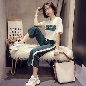 哆哆何伊运动套装女2018夏季时尚休闲韩版运动服白色T恤九分阔腿裤两件套