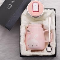 创意可爱女学生陶瓷马克杯咖啡杯带盖勺情侣喝水杯子家用韩版潮流