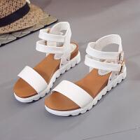 夏季新款韩版松糕厚底防水台凉鞋女夏学生平跟平底女凉鞋