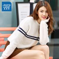 [秒杀价:132.3元,新年不打烊,仅限1.22-31]真维斯女装 2019冬季新款 舒适休闲胸间撞色条纹长袖毛衣