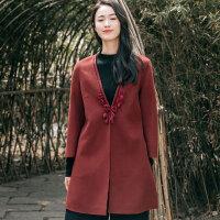 布符2018秋冬新款毛线钩花双面呢外套女士中长款复古长袖毛呢大衣