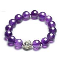 【莲心】天然紫水晶银莲手链女 优雅手串 紫水晶12mm