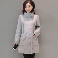 仿羊羔毛棉衣女冬装韩版中长款鹿皮绒加厚外套大衣防风2017