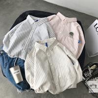 2018春季新款港风小清新青少年学生百搭条纹衬衫男士长袖衬衣上衣