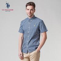 衬衫男短袖纯棉夏季U.S. POLO ASSN.男装衬衣