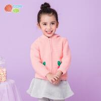 贝贝怡女童毛衣宝宝加绒保暖洋气针织连帽外套套头卫衣儿外搭童装