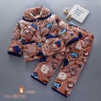 冬季儿童法兰绒睡衣三层加厚夹棉男女童宝宝小孩珊瑚绒家居服套装