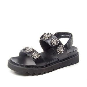 BASTO/百思图2018夏季专柜同款牛皮革水钻一字带女凉鞋RMB02BL8