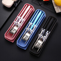 304不锈钢筷子勺子叉子套装学生便携式餐具三件套韩版长柄