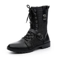 CUM 潮牌新款男士马丁靴潮流英伦皮靴中筒时尚高帮软皮靴
