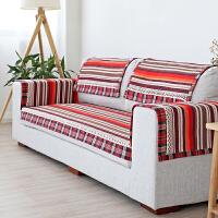 条纹沙发垫布艺田园生活沙发垫简约现代沙发垫子四季坐垫防滑客厅 紫彩条 包边款