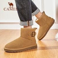 骆驼男鞋2019真皮雪地靴男士冬季保暖加绒加厚棉靴子防滑耐磨短靴