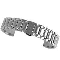 金属不锈钢手表带钢带女16天梭男配件18蝴蝶扣20美度精钢表链