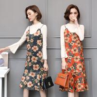 韩版秋装新款吊带鹿皮绒印花外搭两件套连衣裙女