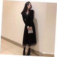 名媛小香风金丝绒连衣裙女冬季2018新款内搭蕾丝打底裙年会小礼服 黑色