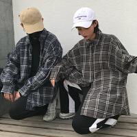 新品2018春季情侣装格子衬衫男女宽松各种衬衣长袖风外套