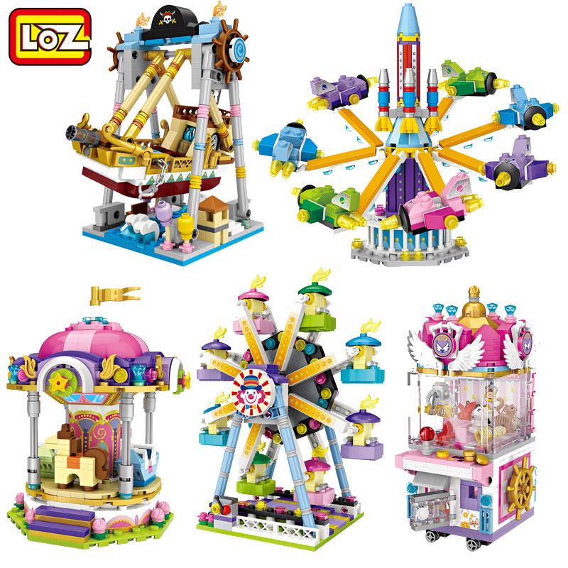 LOZ俐智迷你游乐场小颗粒积木儿童玩具男女孩街景摩天轮女孩小颗粒积木玩具 适合大人玩哦