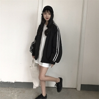 韩版运动服开衫外套女春季蝙蝠袖宽松女士风衣潮学生棒球服短外套