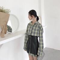 春季新款复古韩国格子长袖宽松衬衫裙+气质拉链半身裙两件套潮女